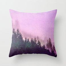 Fog Forest - Pink and Green Misty Mountain Pass Throw Pillow