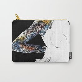 Traditional japanese body koi tattoo, Black and white illustration, Nude art, Naked beauty body Carry-All Pouch