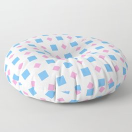 Symmetric patterns 164 blue square and pink rhombus Floor Pillow