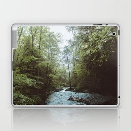 Peaceful Forest, Green Trees and Creek, Relaxing Water Sounds Laptop & iPad Skin
