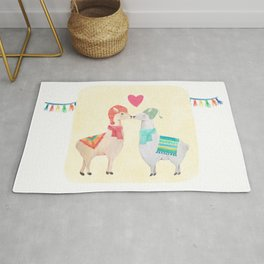Llamas In Love Rug