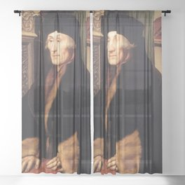 Hans Holbein the Younger - Portrait of Erasmus of Rotterdam Sheer Curtain