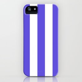 Majorelle blue - solid color - white vertical lines pattern iPhone Case