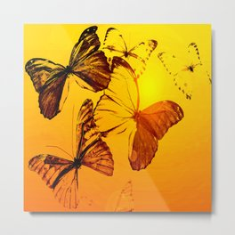 Fly fly butterfly! - Butterflies on a orange background with sunlight #society6 #buyart Metal Print