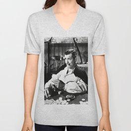 Clark Gable Playing Poker Retro Vintage Art Unisex V-Neck