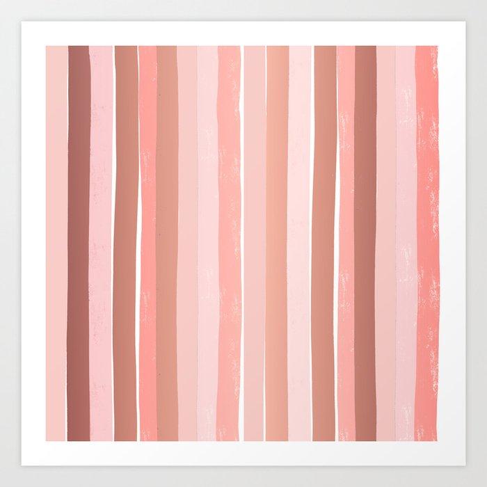 Striped minimal abstract painting modern color pinks metallics decor and art Kunstdrucke