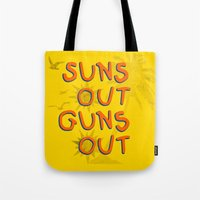 guns Tote Bags featuring Guns Out by Free Specie