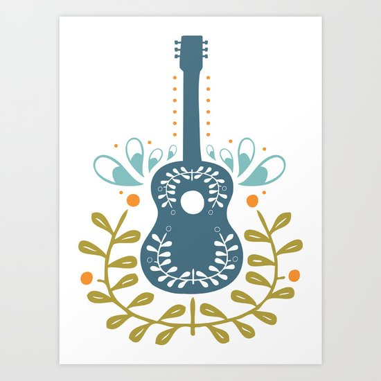 Fancy folk guitar Art Print