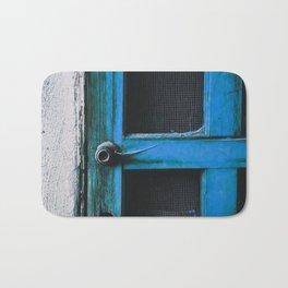 closeup old blue vintage wood door texture background Bath Mat