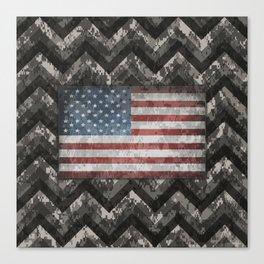 Silver Gray Digital Camo Chevrons with American Flag Canvas Print