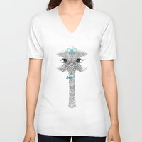 ostrich V-neck T-shirts featuring OsTRICH by Monika Strigel