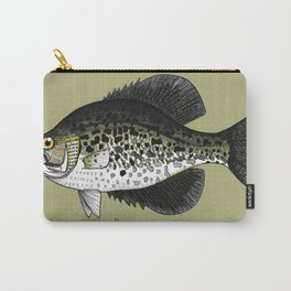 Black Crappie - Poxomis nigromaculatus in Olive Carry-All Pouch