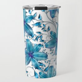 LILY AND VINES BLUE AND WHITE PATTERN Travel Mug