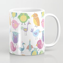 Hand drawn pink blue green orange birds illustration Coffee Mug