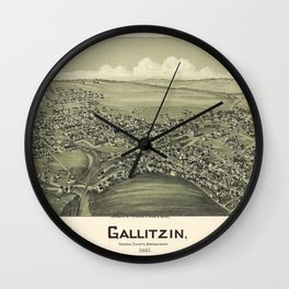 Aerial View of Gallitzin, Pennsylvania (1901) Wall Clock