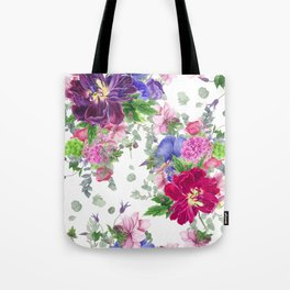 Floral print with tulips and anemones Tote Bag