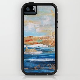 Sailboats and Golden Rays filling the Sea Gold iPhone Case