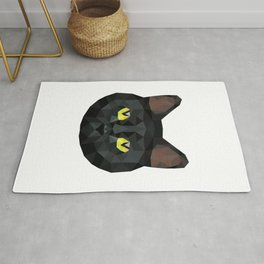 Low Poly Black Cat | Low Poly Art Rug