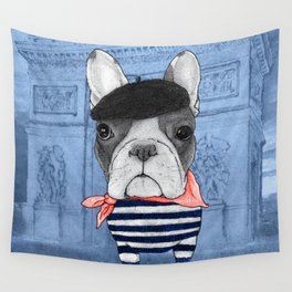 Frenchie with Arc de Triomphe Wall Tapestry
