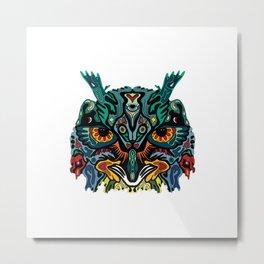 Trippy Geometric Owl Totem Metal Print