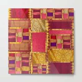 """Exotic fabric, ethnic and bohemian style, patches"" Metal Print"