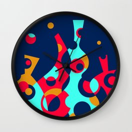 Colorful Funky Bottle Shapes III Wall Clock