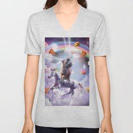 Laser Eyes Space Cat On Llama Unicorn - Rainbow Unisex V-Neck