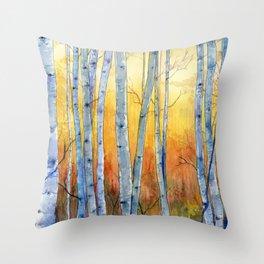Birch Trees at Sunset Throw Pillow
