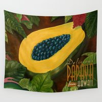 hawaiian Wall Tapestries featuring Hawaiian Papaya by Mark Kingsley Brown
