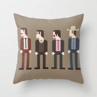 anchorman Throw Pillows featuring Anchorman 8-Bit by Eight Bit Design