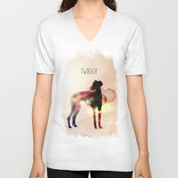 greyhound V-neck T-shirts featuring Twiggy greyhound by Ingrid Winkler