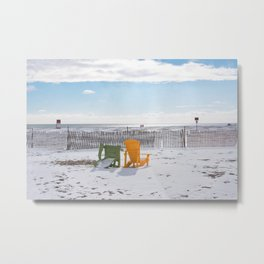 Fogotten Benches on the Snowy Winter Beach Metal Print