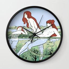 Bathing Nymphs Art Nouveau Illustration Wall Clock