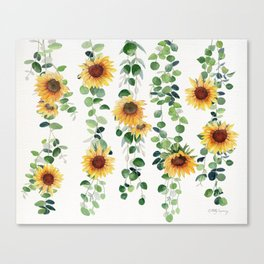 Eucalyptus and Sunflowers Garland  Canvas Print