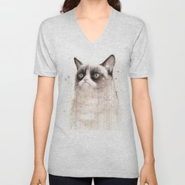 Grumpy Watercolor Cat Geek Meme Whimsical Animals Unisex V-Neck