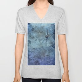 Painting of boat sailing over sparkling blue waters of ocean.  Boat art watercolor painting ocean decor blue artwork nautical Unisex V-Neck