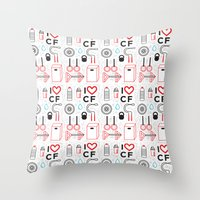 crossfit Throw Pillows featuring CrossFit Love by Golden Heart