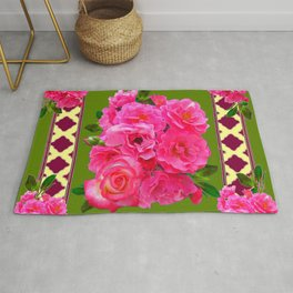 VIBRANT PINK ROSES ON MOSS GREEN PATTERN Rug