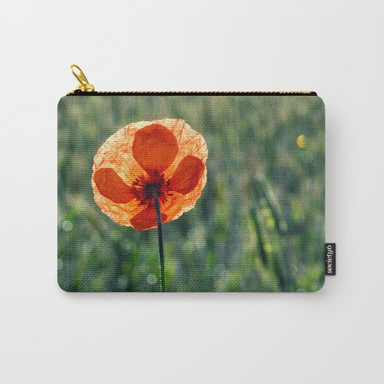 Poppy in a green meadow-Poppies and Flowers on #Society6 Carry-All Pouch