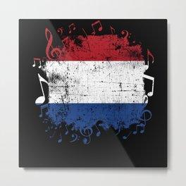 Netherlands Flag Music Metal Print