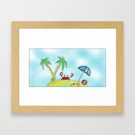 Crab on my beach Framed Art Print