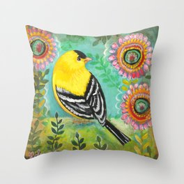 Goldfinch by Robynne Throw Pillow
