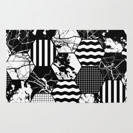 Hexual - Black and white, honeycomb, hexagon pattern, stripes, paint splats, grid and marble Rug