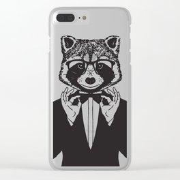 Fancy Raccoon Clear iPhone Case
