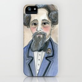 Charles Dickens in Blue, Victorian Literary Portrait iPhone Case
