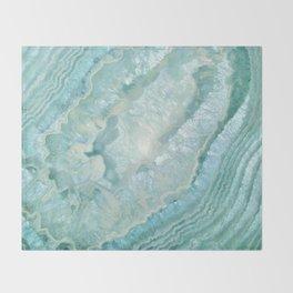 """Aquamarine Pastel and Teal Agate Crystal"" Throw Blanket"