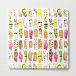 Sushi Watercolor-- Nigiri Sushi Metal Print