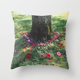 Beautiful Earth in Floral Decor Throw Pillow