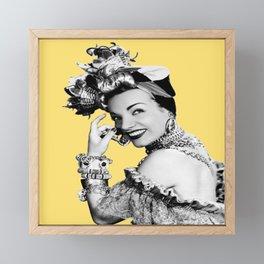 Carmen Miranda Portrait, Black and White Artwork for Wall Art, Prints, Posters, Tshirts, Bags, Men, Framed Mini Art Print