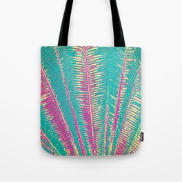 Girly Blue and Pink Tropical Palm Fronds Tote Bag